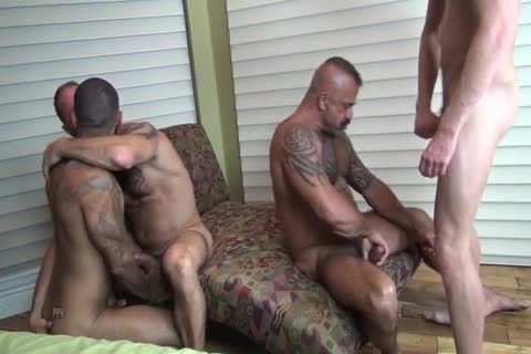 Tattooed boyz pounding booties painfully.